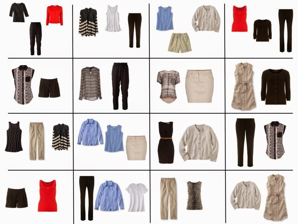 sixteen black and beige outfits with blue and red accents