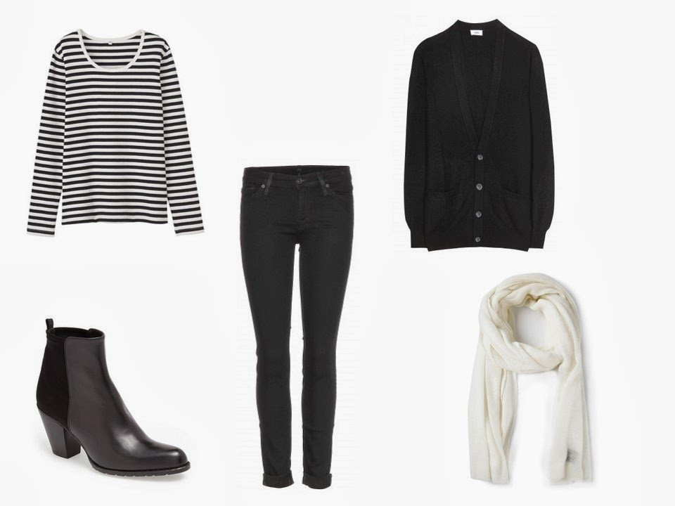 a black and white striped long sleeved tee shirt, worn with black jeans, a black cardigan, and black boots