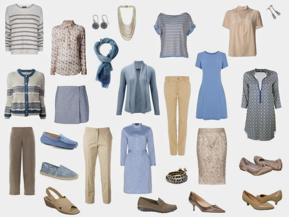 capsule travel wardrobe in soft sky blue and tank or beige