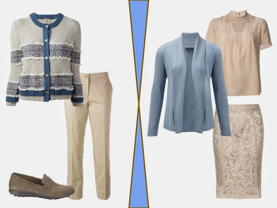 two cardigan outfits in beige and soft blue