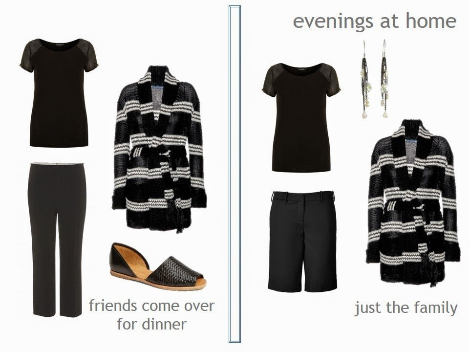 """two outfits in black and white, using a """"Not So Crazy Eights"""" in black"""