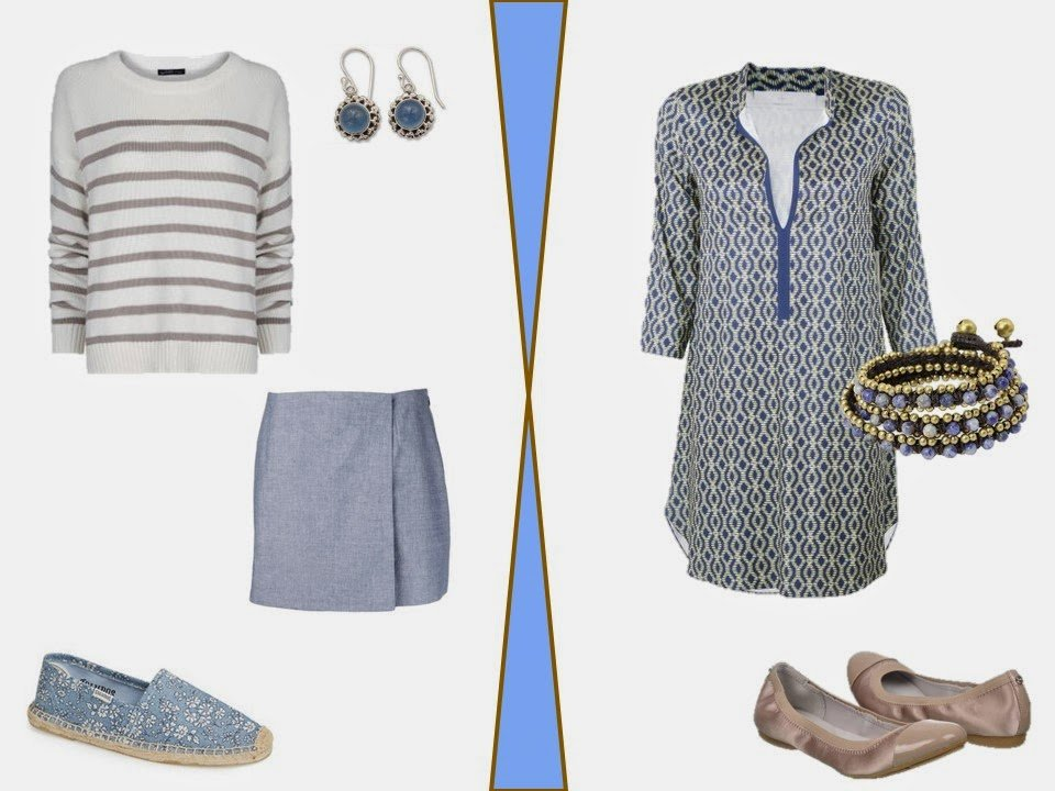 two warm weather outfits in beige and soft blue
