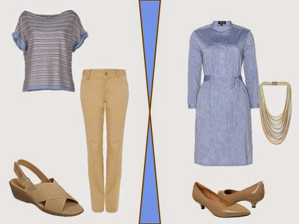 two outfits in beige and soft blue