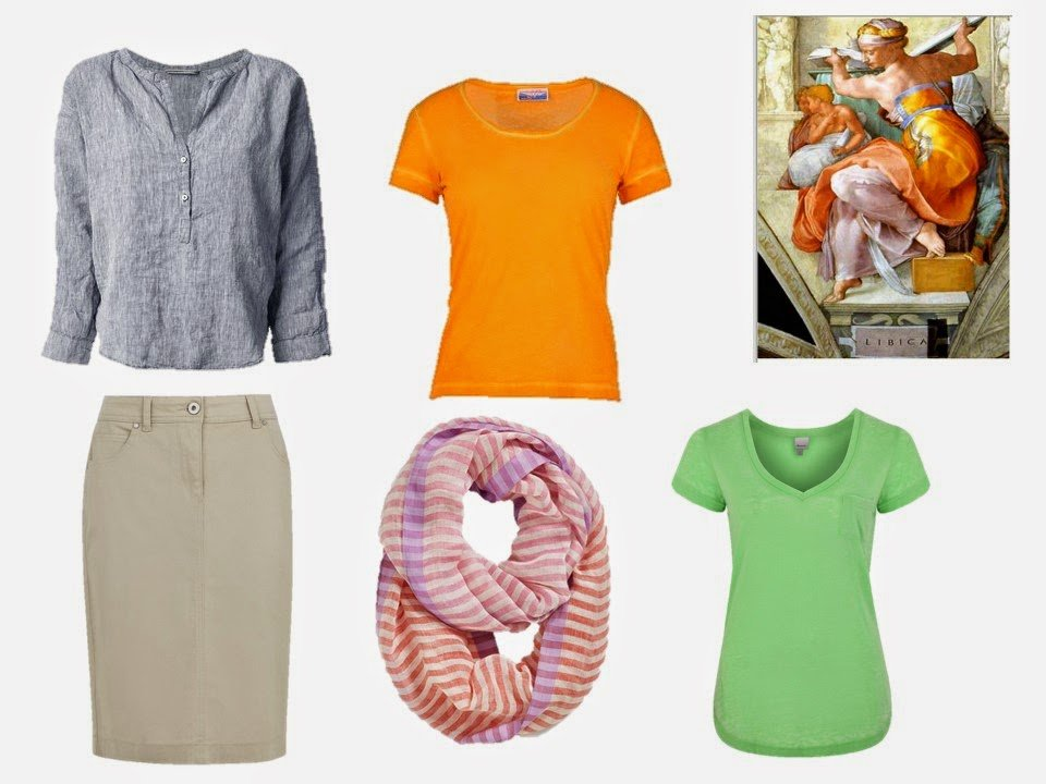 garments in shades taken from The Libyan Sibyl by Michelangelo
