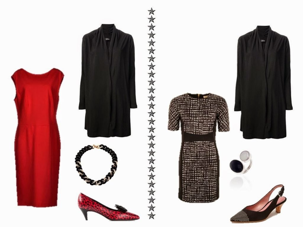 black cardigan with a red sleeveless dress, and with a black and white geometric print dress