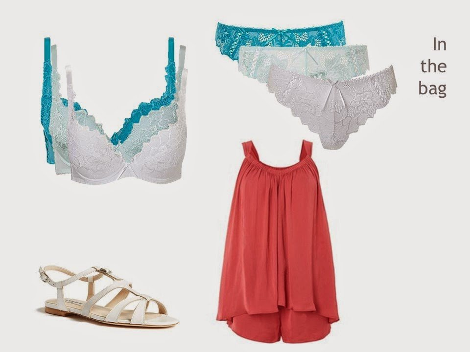 lingerie, shorty pajamas and a pair of flat white sandals