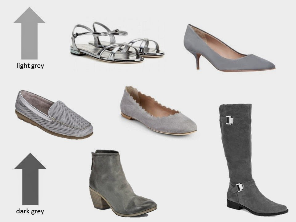six classic shoe styles in shades of grey