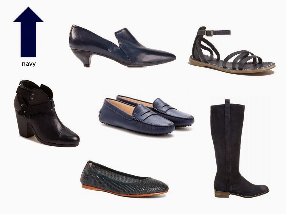 six classic shoe styles in navy