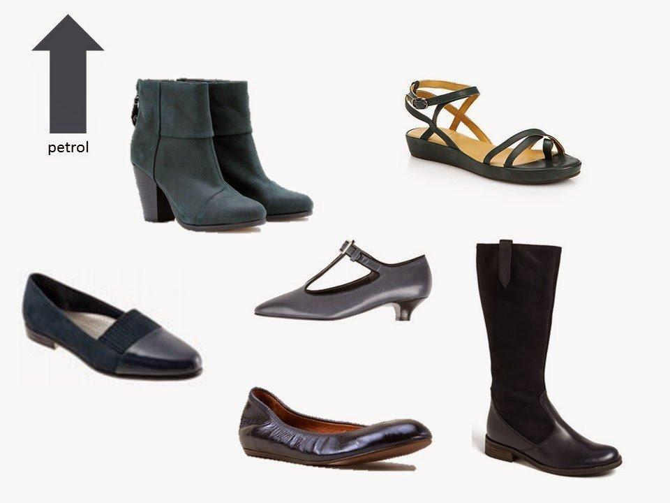 six classic shoe styles in petrol blue