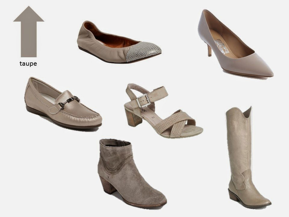 six classic shoe styles in taupe