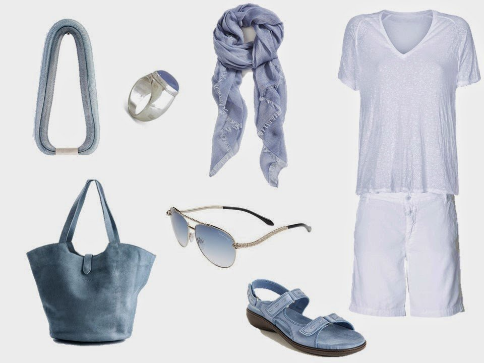 white linen tee shirt and shorts with soft denim blue accessoires