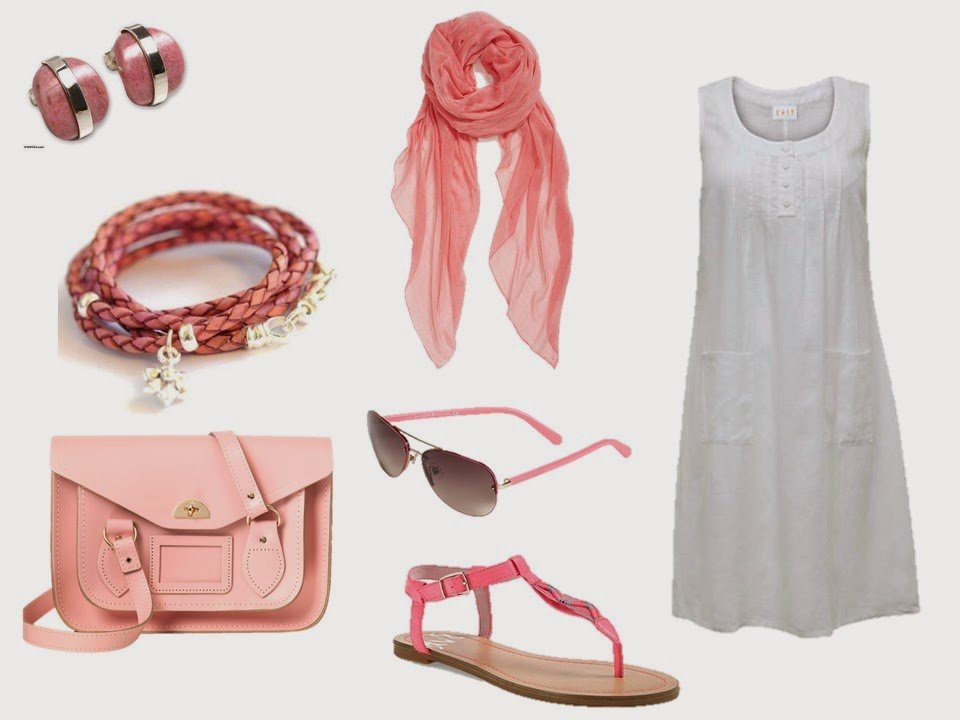 simple white summer dress with rose pink accessories
