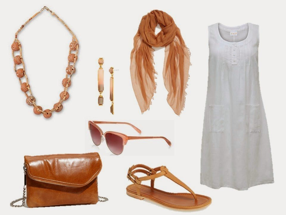 simple white summer dress with soft terra cotta accessories