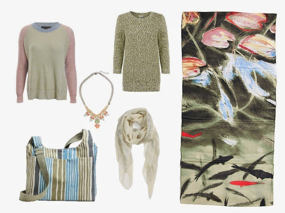 two sweaters, a necklace, a bag and a scarf to coordinate with Elizabeth Blackadder's Dark Pond