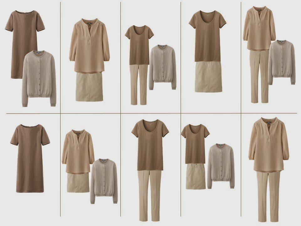 10 stress dressing outfits based on a simple beige and tan capsule travel wardrobe