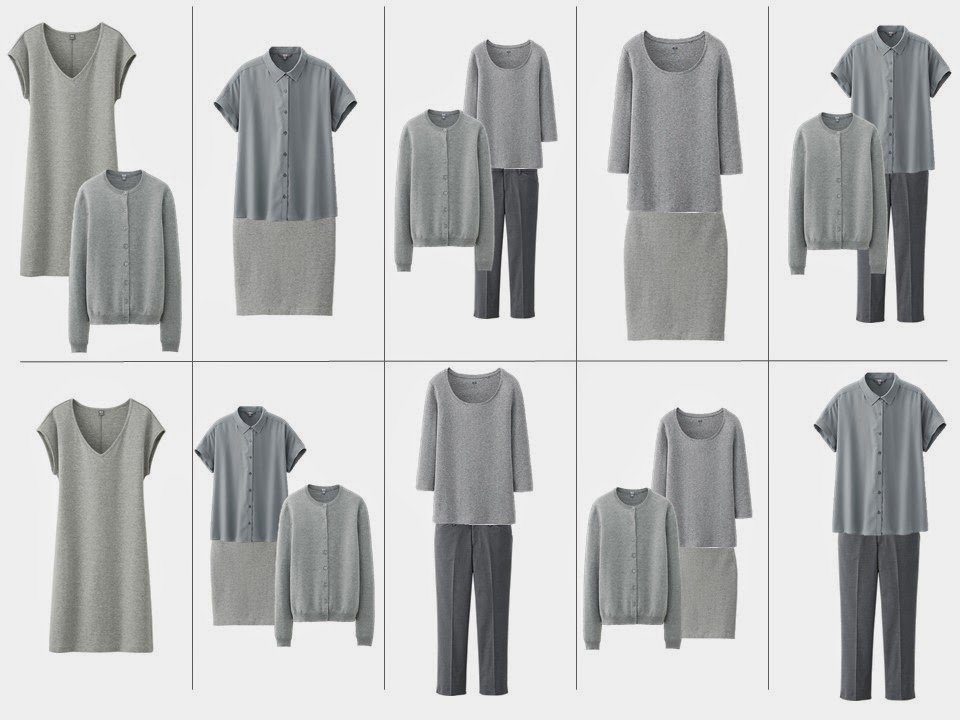 10 outfits from a grey 10 piece capsule travel wardrobe for stress dressing