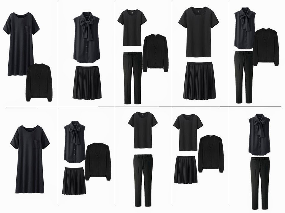 10 outfits from a 10 piece travel capsule wardrobe for stress dressing