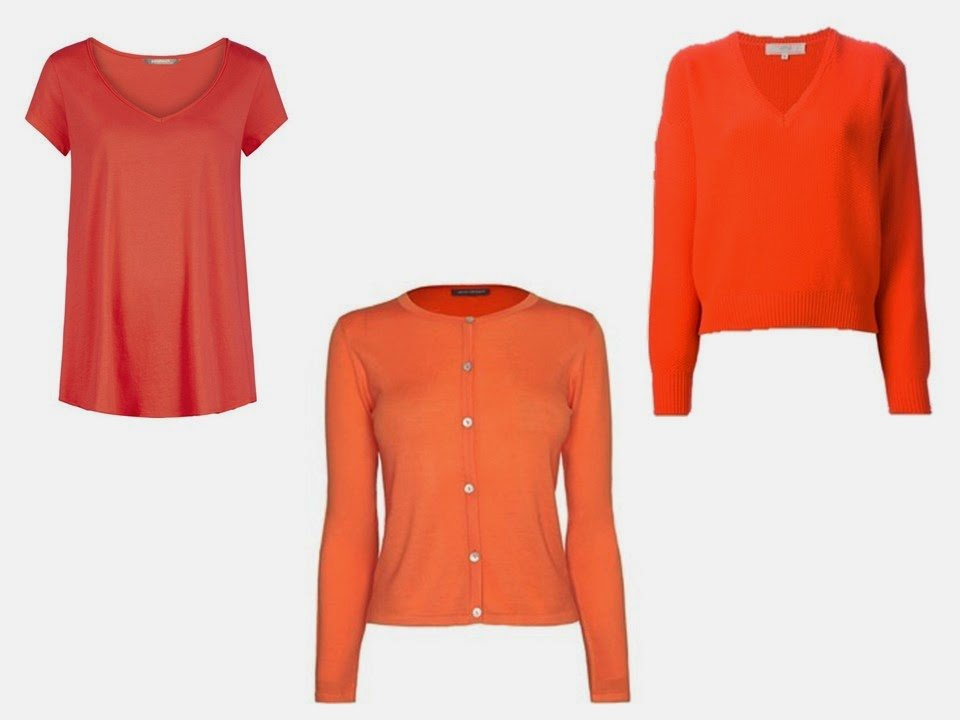 three orange tops to wear with an Hermes scarf