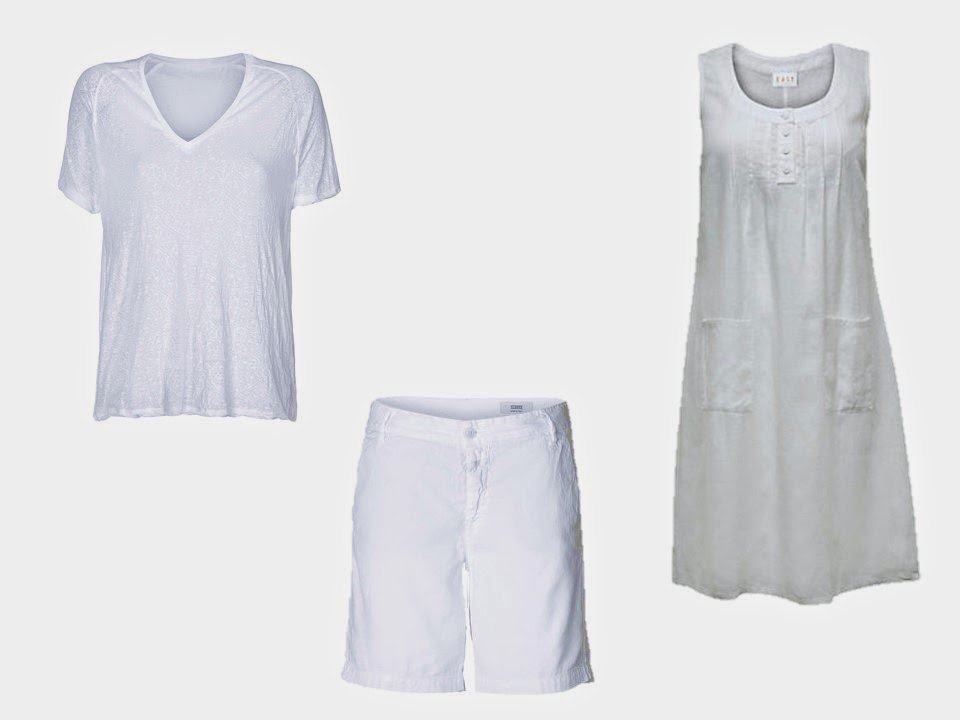 three simple white summer pieces of clothing