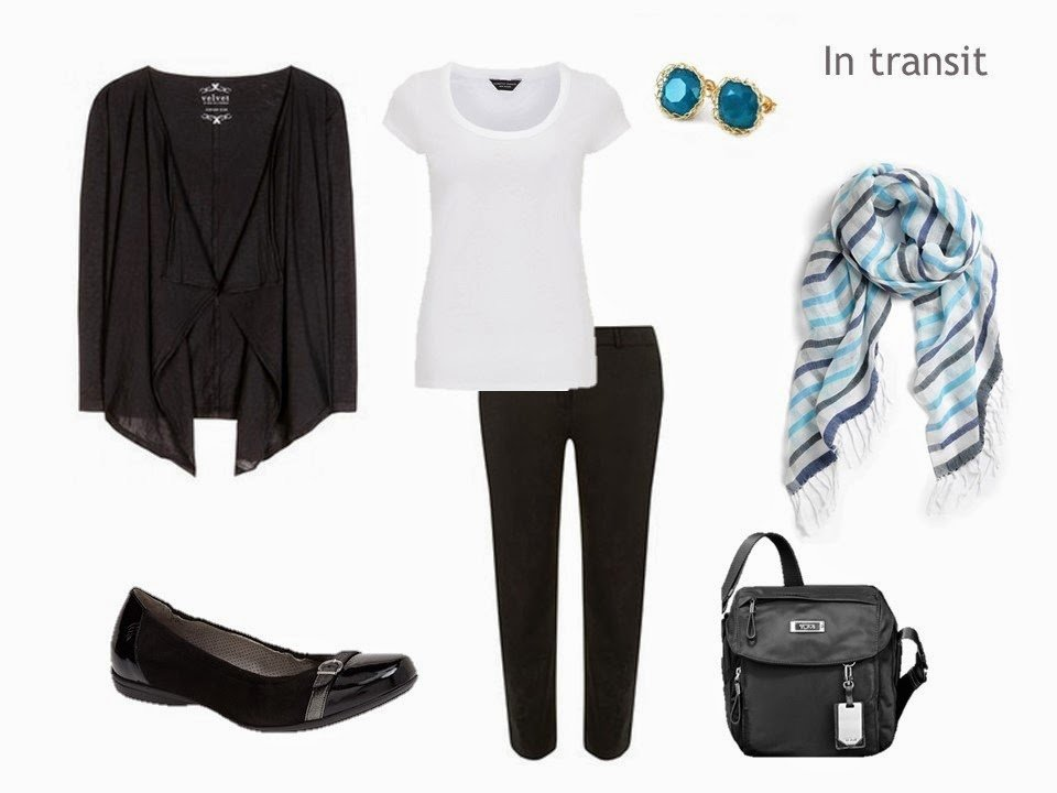 black white and turquoise hot weather travel outfit