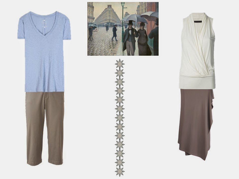 two outfits based on colors from Paris Street; Rainy Day by Gustave Caillebotte