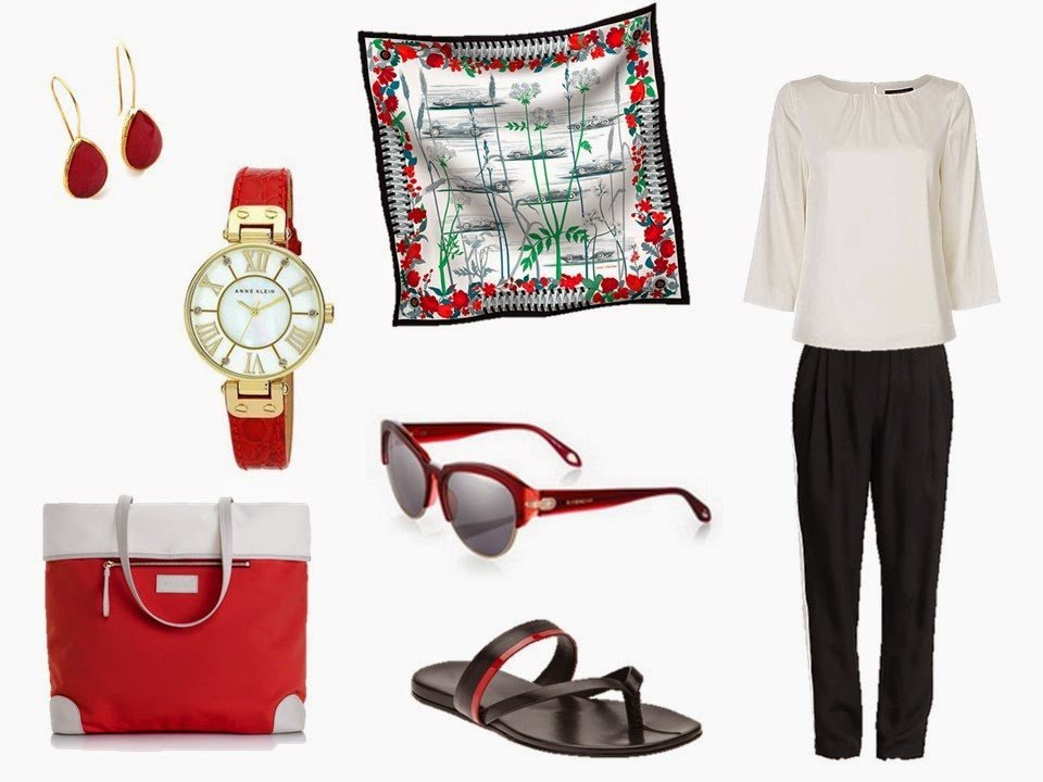 Hermes Bolide with a white silk blouse, black silk pants, and red accessories