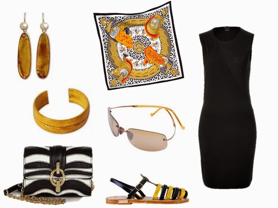 Hermes Casques et Plumets with a black dress and rich golden yellow accessories