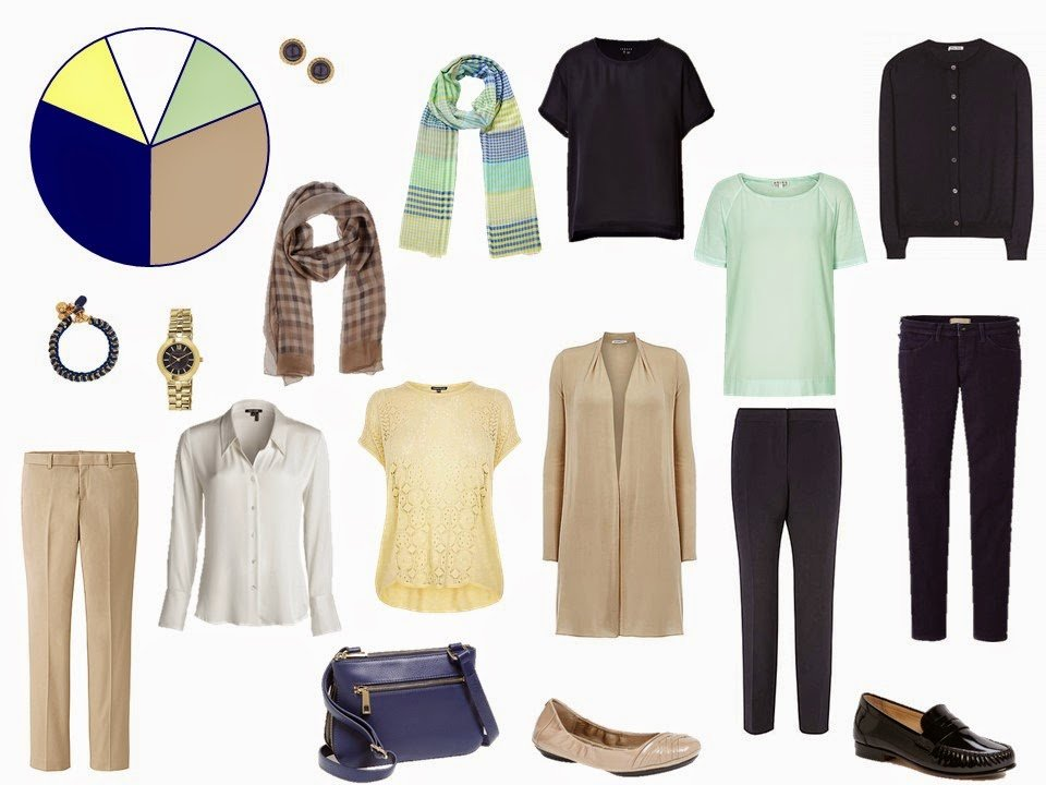 navy and beige capsule travel wardrobe
