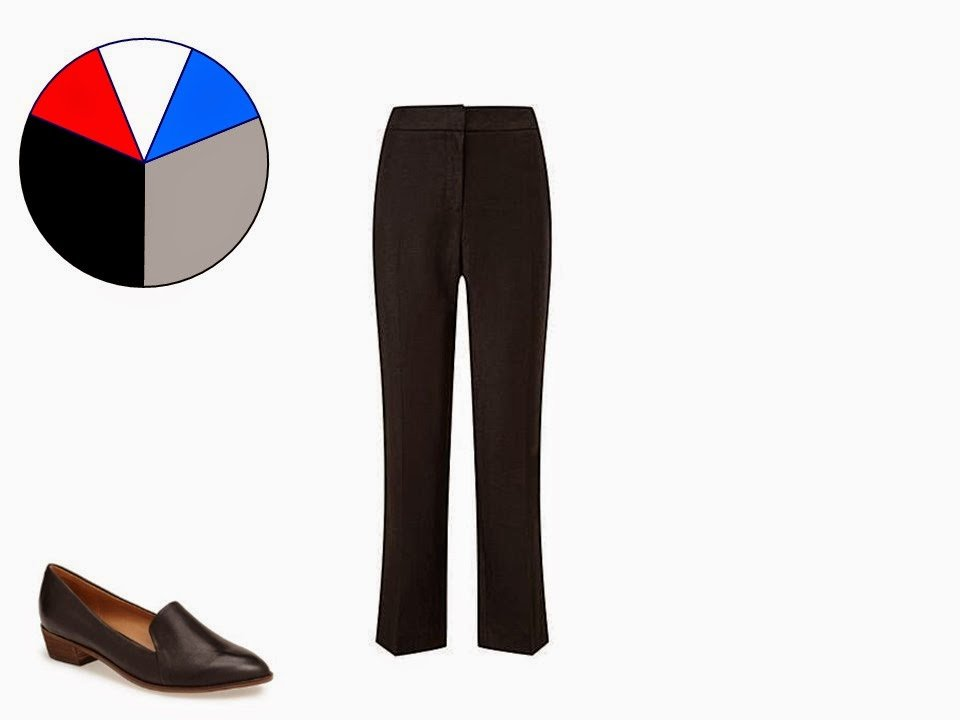black women's trousers with classic black pointed toe loafers