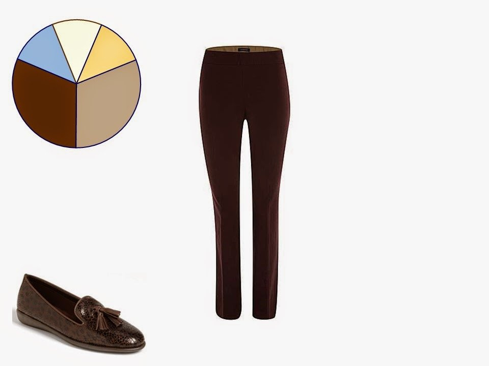 brown women's trousers with classic brown tassel loafers