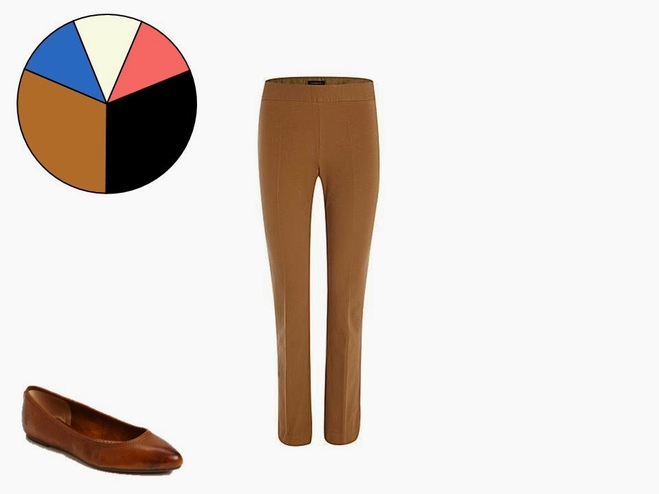 caramel brown women's trousers with simple caramel brown flat shoes