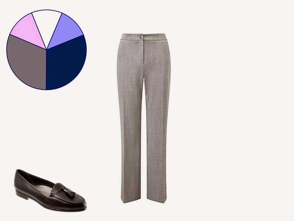 grey women's trousers with classic black tasseled loafers