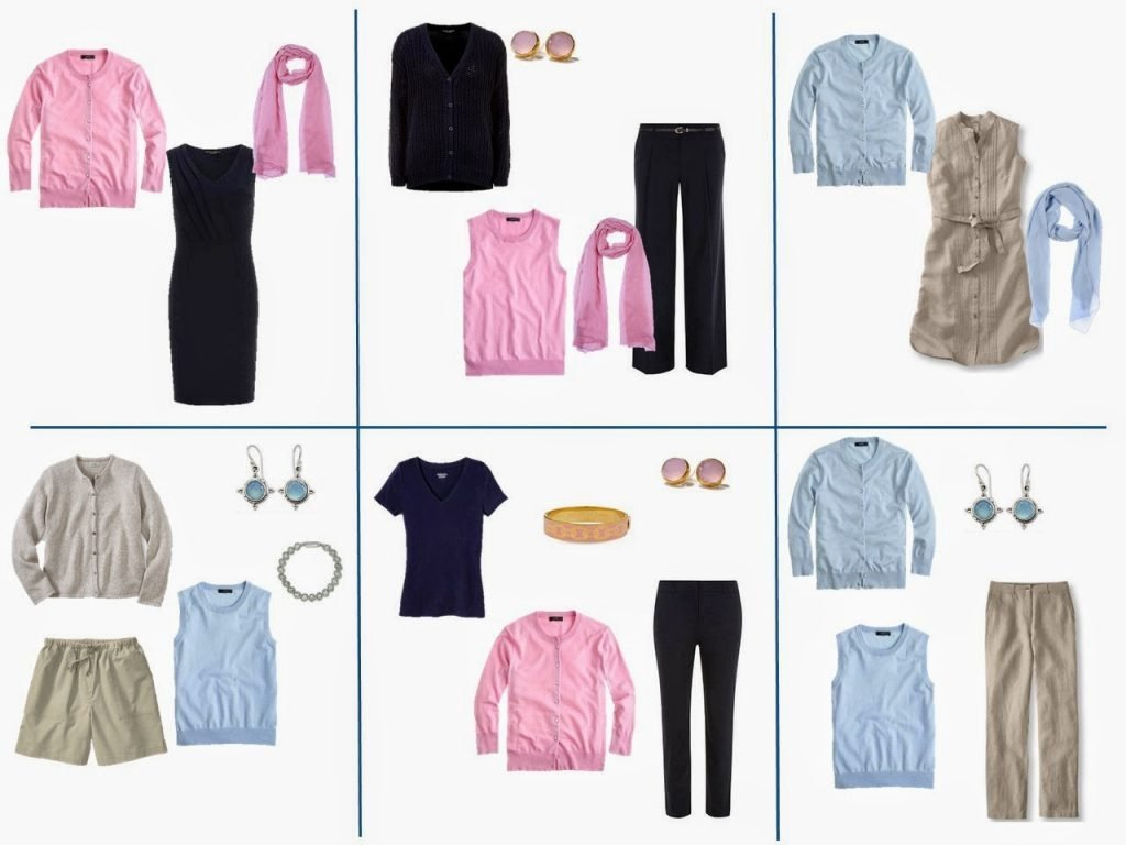 six outfits taken from a capsule travel wardrobe of navy and beige with pink and light blue accents