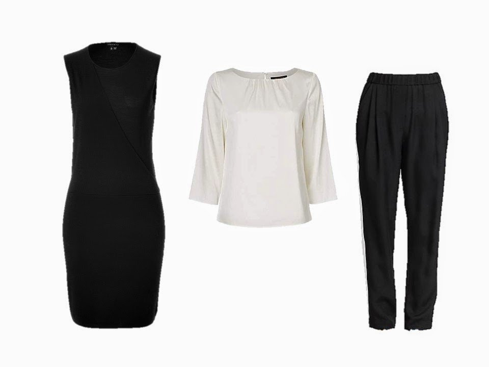 black dress, white silk shirt and black silk pants