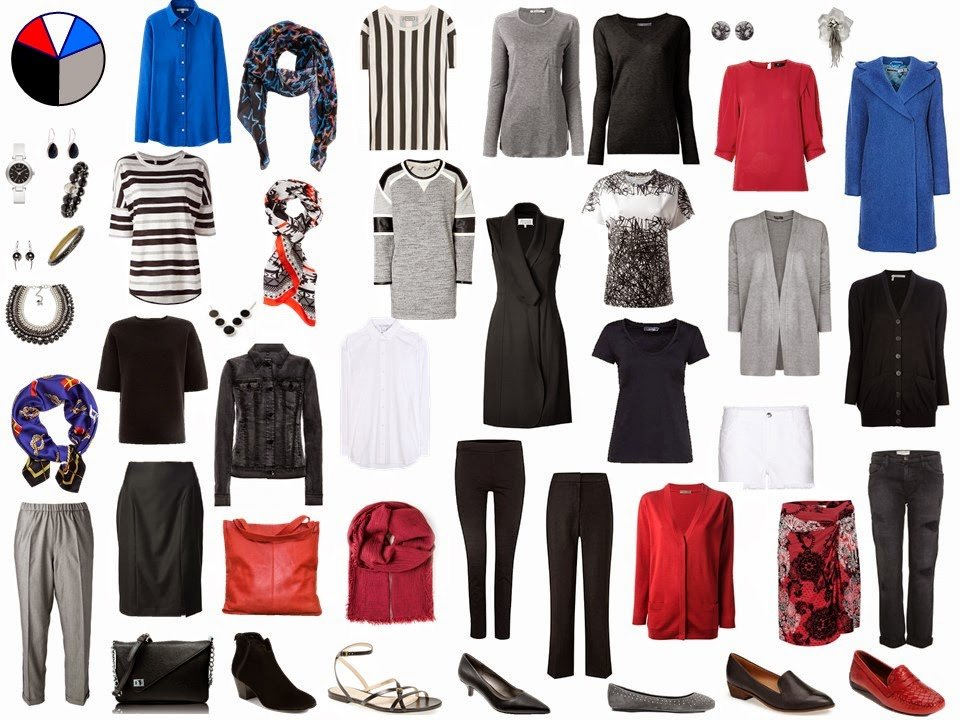 black and grey Starting From Scratch Wardrobe with red and blue accents