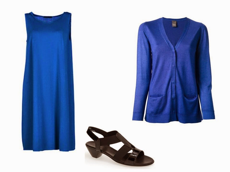 blue dress and blue cardigan with black sandals