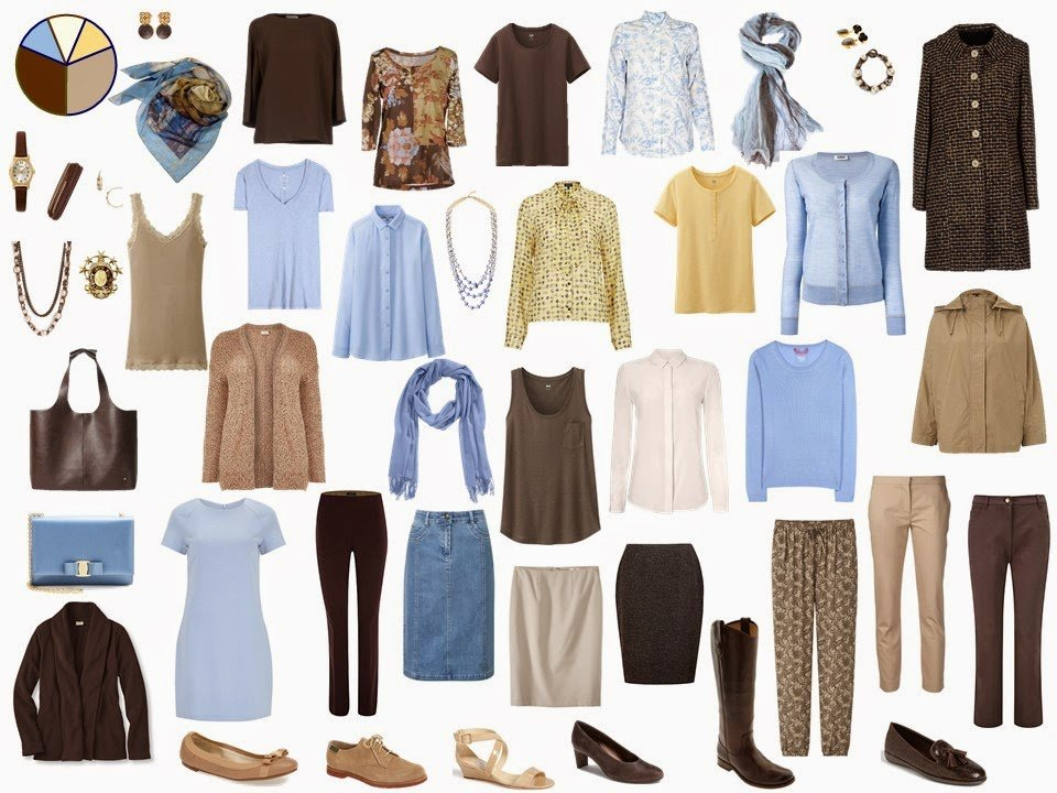 brown and beige Starting From Scratch Wardrobe with blue and yellow accents