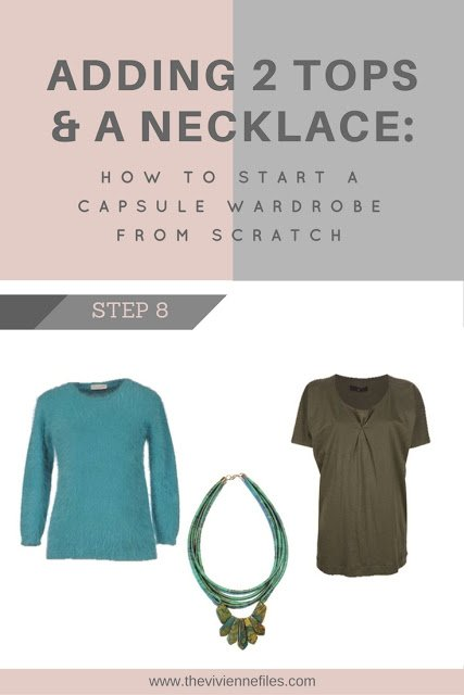 How to build a capsule wardrobe from scratch - step 8 - add 2 tops and a necklace