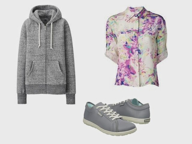 Grey hooded sweatshirt, flowered blouse, and canvas shoes to add to a Starting From Scratch wardrobe in grey and navy