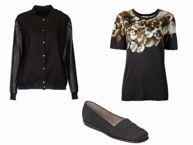 Black baseball jacket, black floral top, and black canvas flats, to add to the Caramel and Black Starting From Scratch Wardrobe