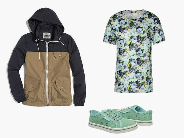 A navy and tan jacket, a floral top, and green eyelet trainers, to add to the Navy and Tan Starting From Scratch Wardrobe