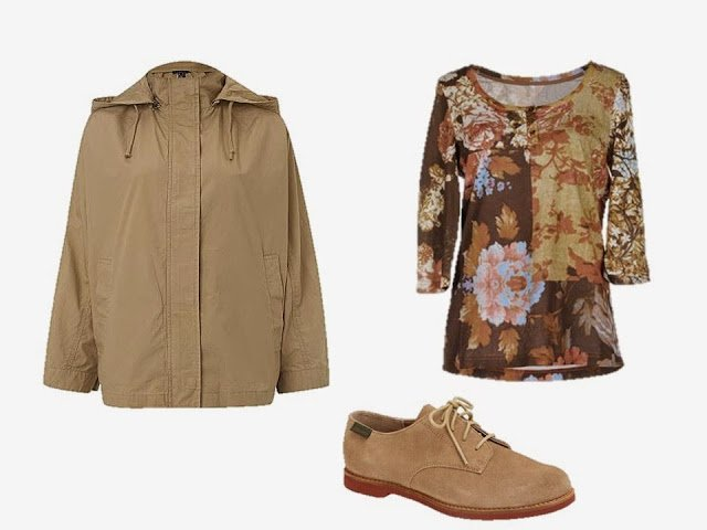 Tan jacket, floral top, and tan oxfords to add to the Brown and Tan Starting From Scratch Wardrobe