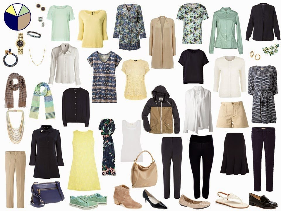 navy and beige Starting From Scratch Wardrobe with yellow and mint green accents
