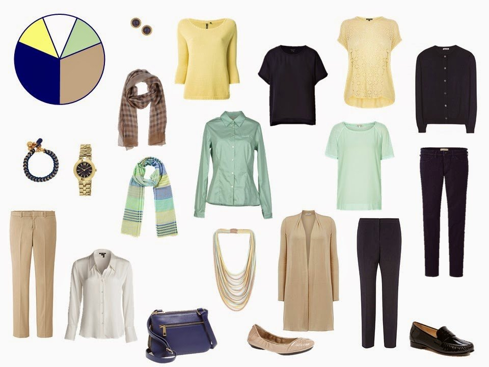 11-piece navy, beige, yellow and green travel capsule wardrobe