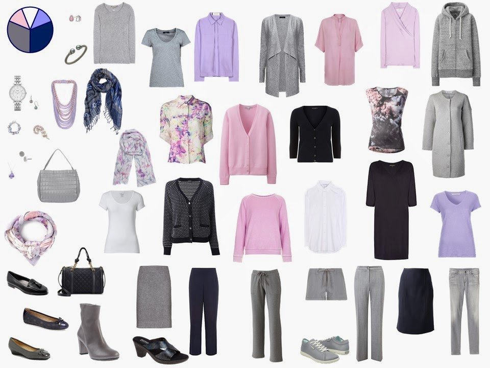 grey and navy Starting From Scratch Wardrobe with pink and lilac accents