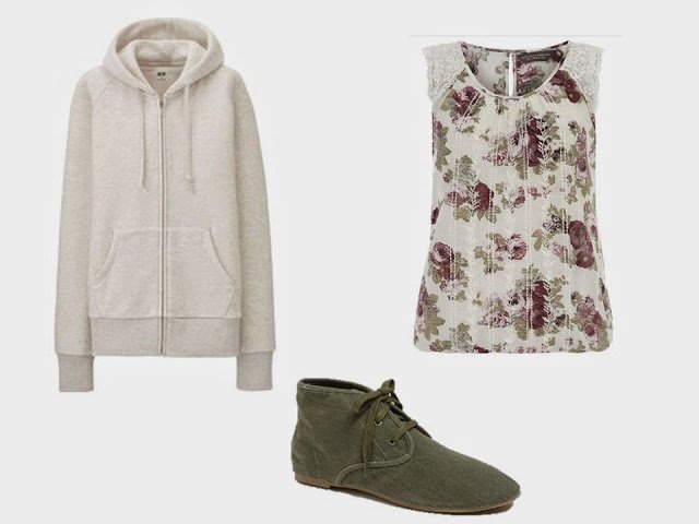 Sweatshirt, floral top, and canvas shoes to add to the khaki and olive green Starting From Scratch Wardrobe
