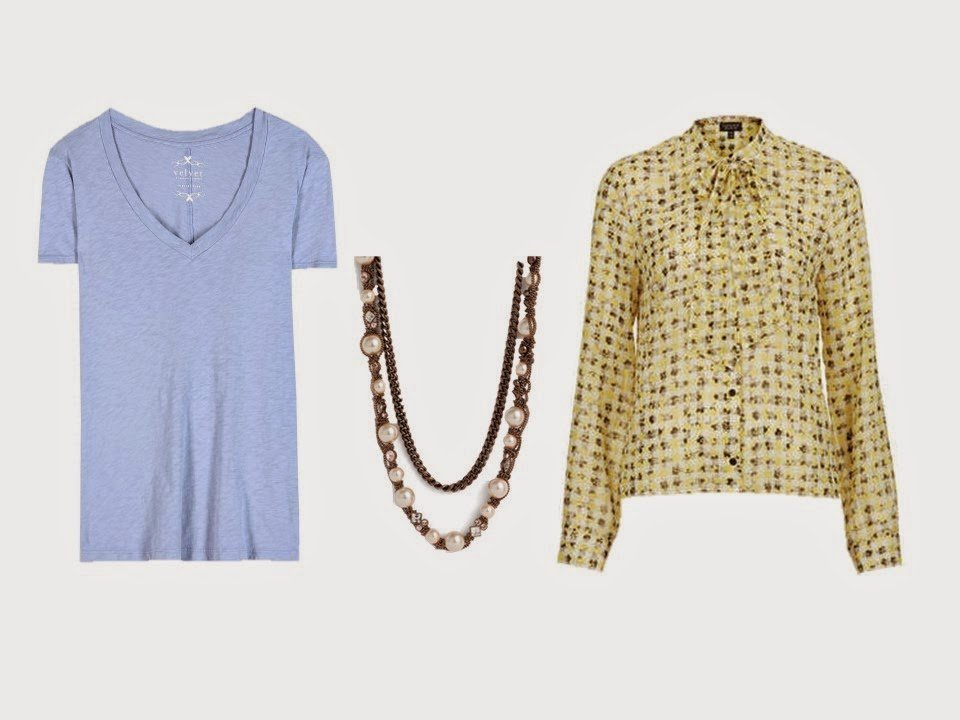 blue tee shirt, brown necklace, and yellow and brown print blouse