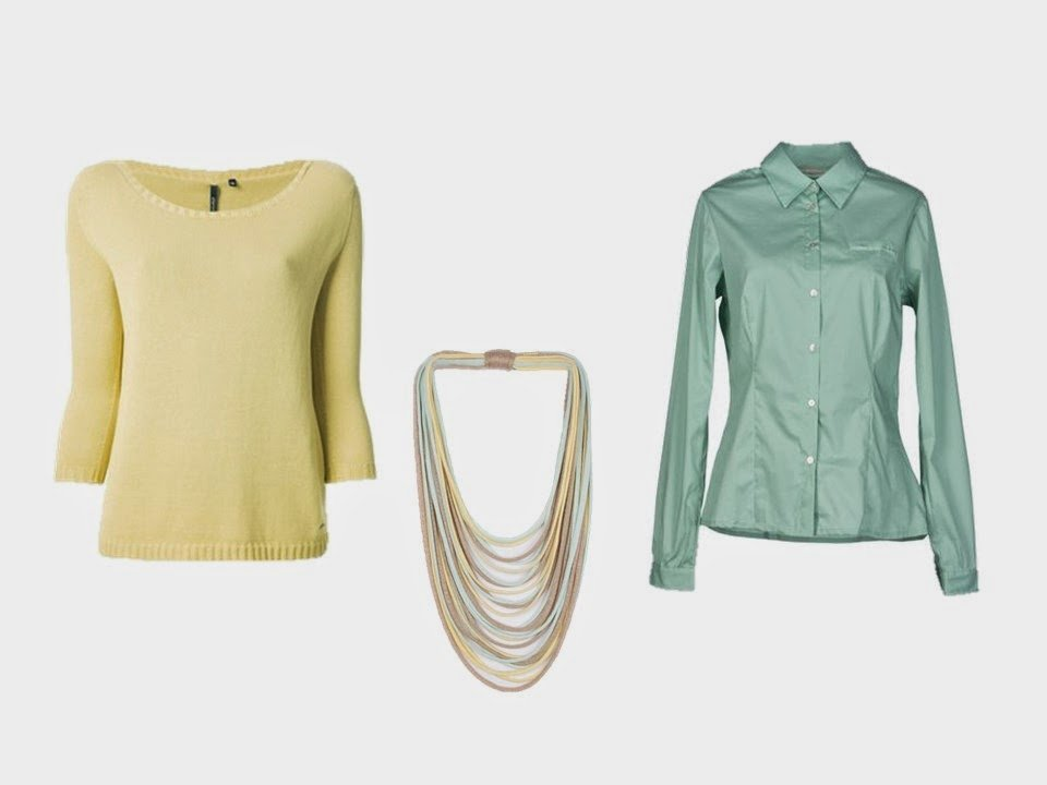 yellow sweater, green shirt, and yellow and green silk necklace