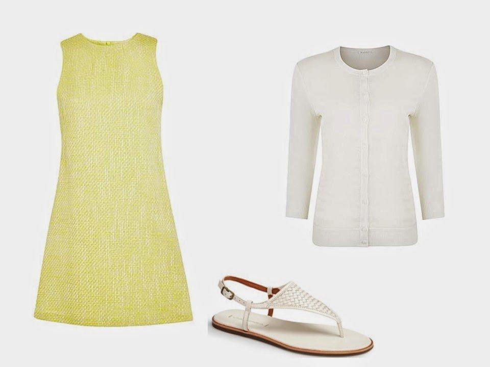 yellow dress white cardigan and white sandals