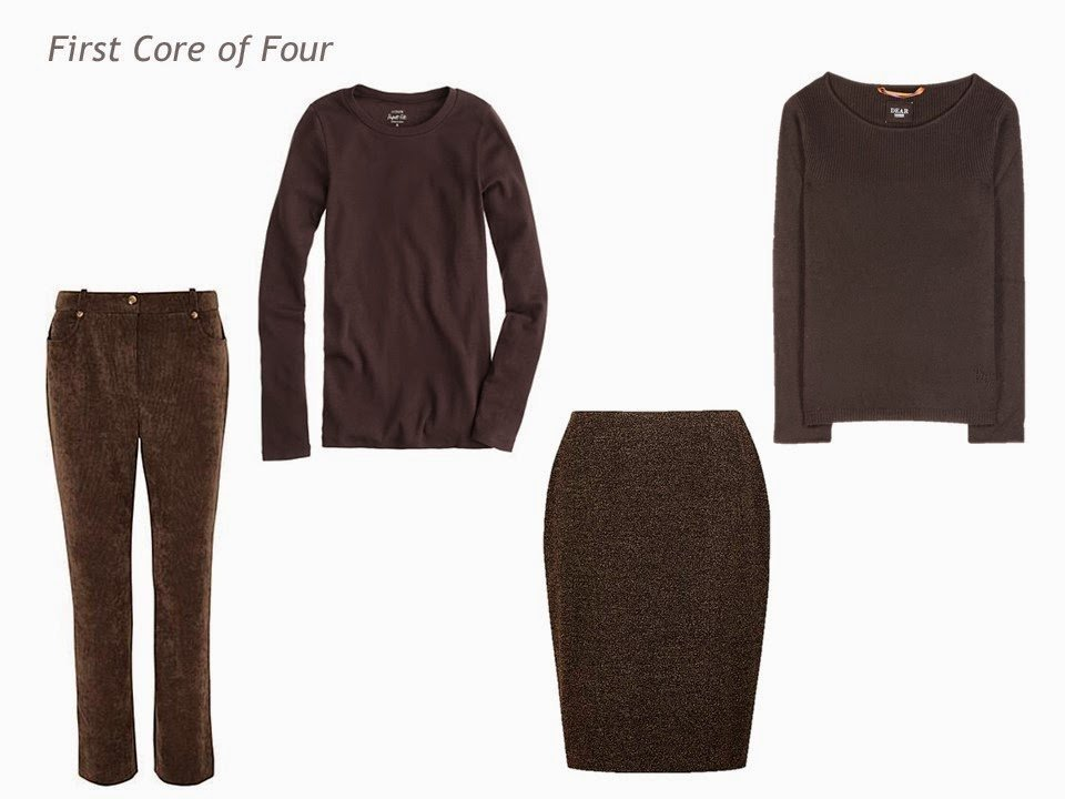 Core of Four in brown: corduroy pants, tee shirt, skirt and sweater